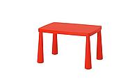 Стол детский IKEA МАММУТ красный для дома и улицы, 77x55 см