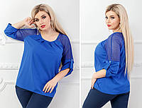 Стильная женская блузка больших размеров! Цвет: электрик, арт 0117/2