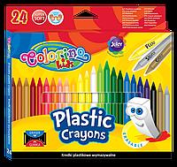 Восковые мелки с ластиком 24 цвета, Colorino