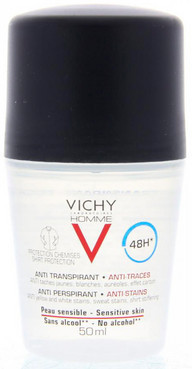 Шариковый дезодорант-антиперспирант 48 ч Vichy Homme Anti-Perspirant  Anti-Stains 48 H