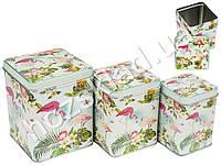 """Банки металлические для хранения """"Фламинго"""" на зеленом квадратные (цена за набор 3 предмета)"""