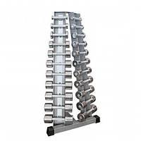 Стойка с набором хромированных гантелей 0,5-10 кг InterAtletika ST410.1