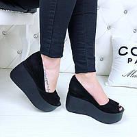 Черные туфли на платформе с открытым носком, натуральная замша