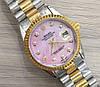 Часы Rolex Oyster Perpetual DateJust 116192 женские 37 мм серебристо-золотистые с розовым календарь  копия