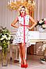 Платье 0849 белый + коралл