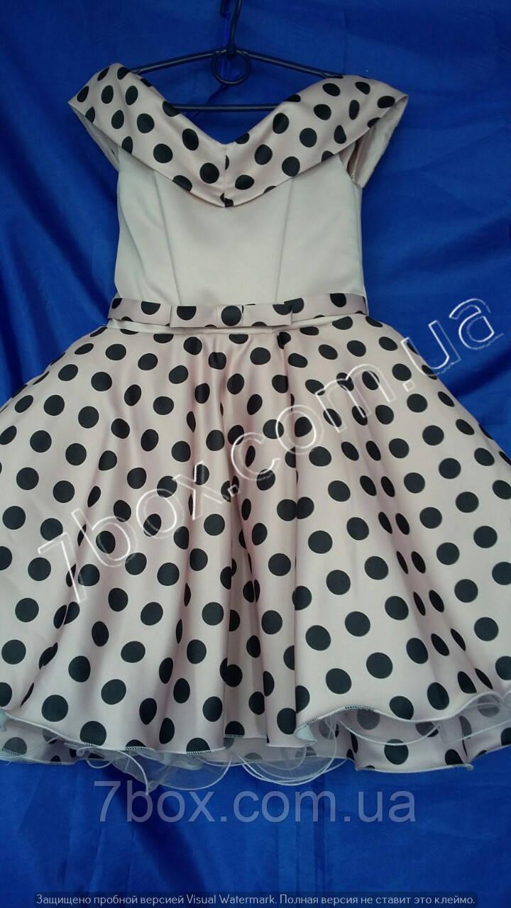 Детское нарядное платье  Стиляги Шалька 6-7 лет. Молочное в горох