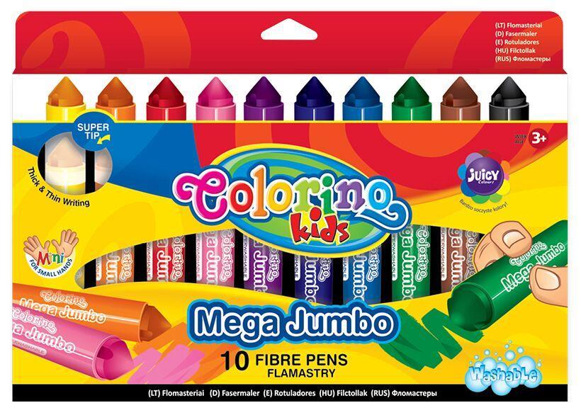 Фломастеры 10 цветов, Colorino Jumbo