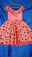 Детское нарядное платье  Стиляги Шалька 6-7 лет. Коралл в горох