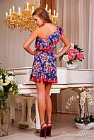 Платье 0859 синий + коралл