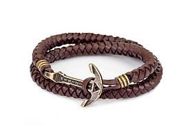 Кожаный браслет с Якорем ANTIQUE Lost Warrior Шоколадный (mt1103)