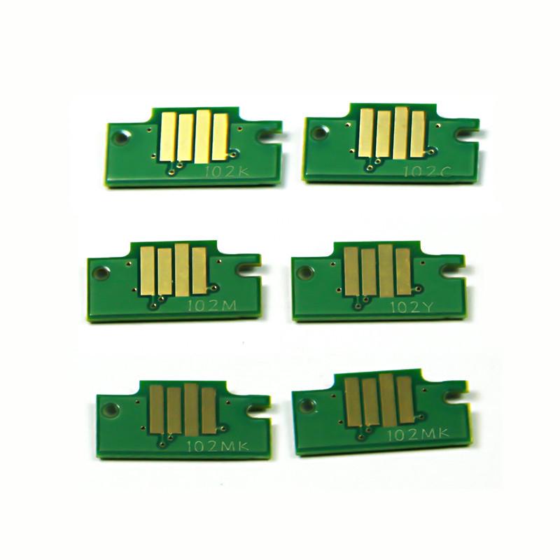 Чипы Ocbestjet для картриджей Canon PFI-102 для плоттеров Canon iPF605/iPF710/iPF650/iPF750 (набор 6 шт.)