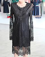 Молодежное платье черное гипюровое