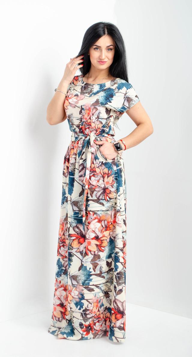aedf2540b7a Нарядное и удобное длинное платье с карманами зеленое размеры 44-46 ...