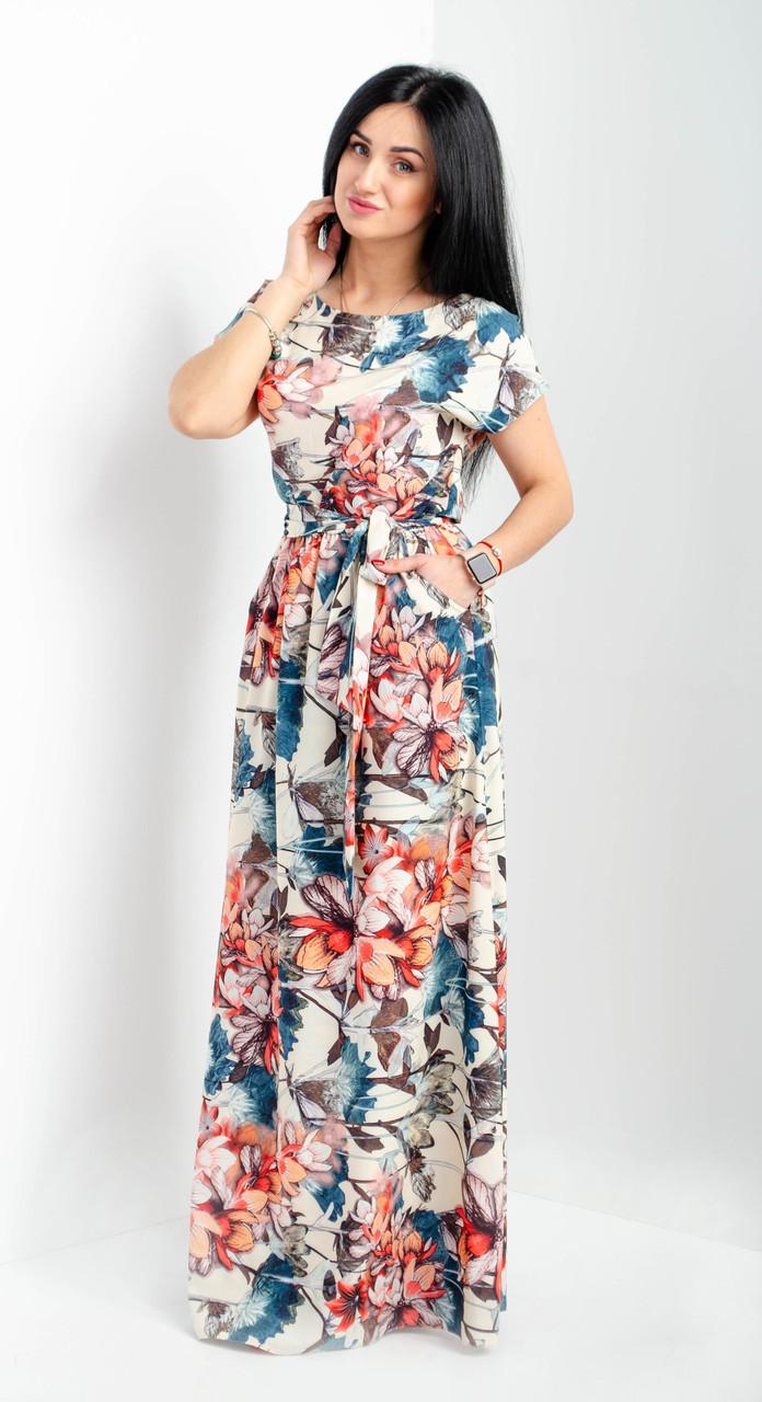 f1d12b2ed78 ... Нарядное и удобное длинное платье с карманами зеленое размеры  44-46