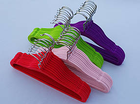 Плечики вешалки  флокированные (бархатные, велюровые) пудрового цвета, длина 28 см, в упаковке 10 штук, фото 3