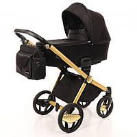 Дитяча коляска 2 в 1 Invictus V-Print Black на шасі Gold, фото 1