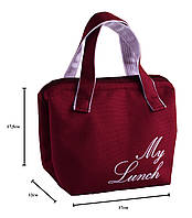 Термосумка, Lunch bag Dolphin на молнии с вышивкой My lunch. Бордовый
