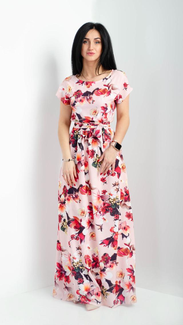 2f2c4986eaf Нежное и легкое платье макси с коротким рукавом размеры 44-46