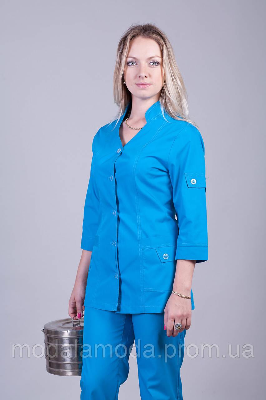 Костюм медицинский с модным привлекательным однотонным бирюзовым цветом большого размера