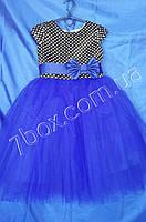 Детское нарядное платье бальное Прелесть Возраст 6-7 лет. Синее