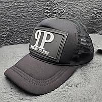 Стильная мужская кепка, бейсболка, тракер с логотипом Philipp Plein, черная, сетка ONE SIZE