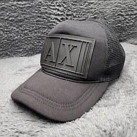 Стильная мужская кепка, бейсболка, тракер с логотипом Armani, черная, сетка ONE SIZE