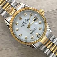 Часы Rolex Oyster Perpetual DateJust 116197 женские 37 мм серебристо-золотистые с белым   копия, фото 1