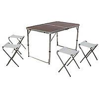 Стол для пикника, рыбалки складной + 4 стула 120x60 ВИШНЯ D10034