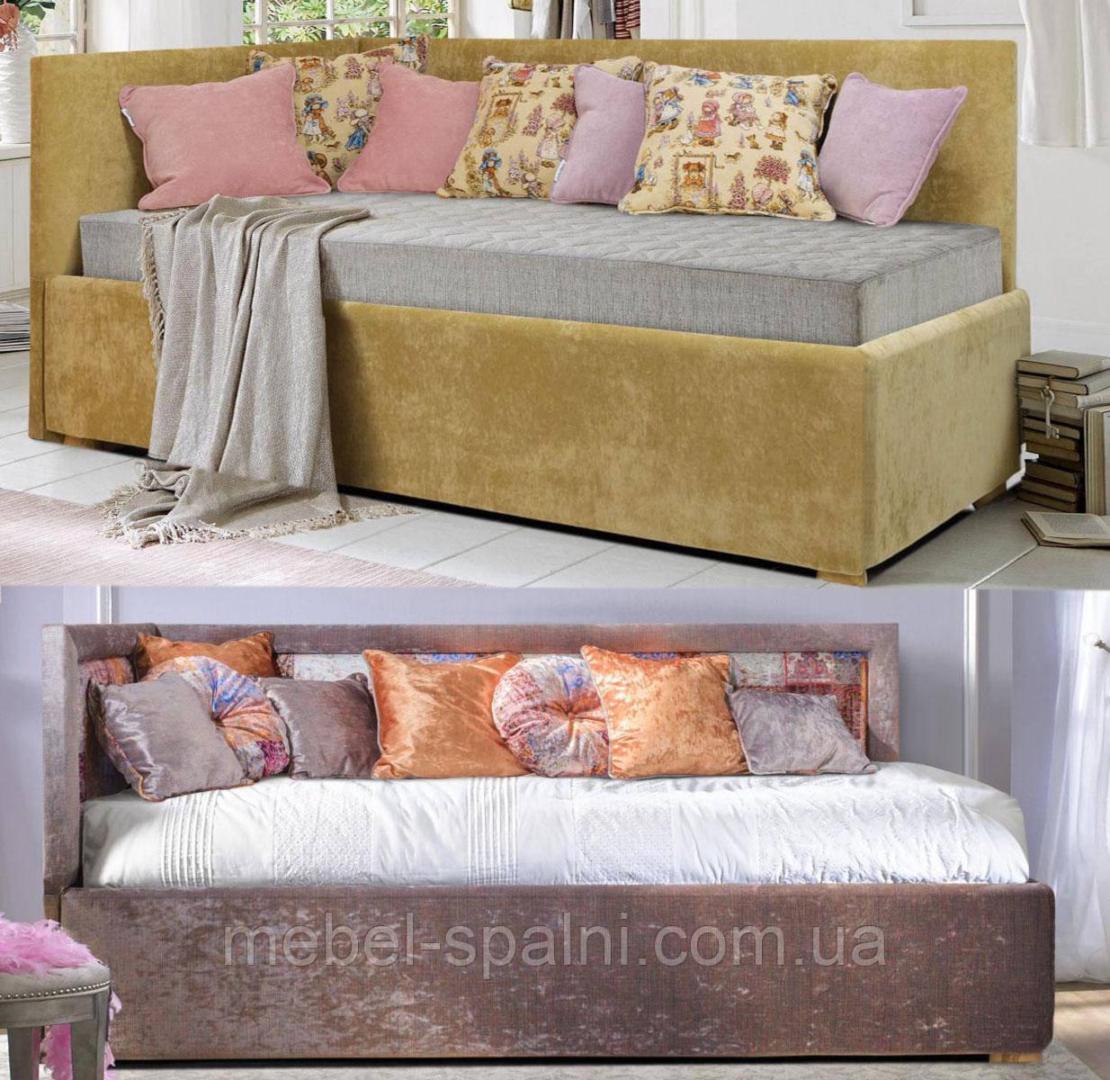Кровать мягкая деревянная «Алиса»