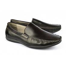 Мокасины мужские черные кожаные «Clemento», Черный, 41
