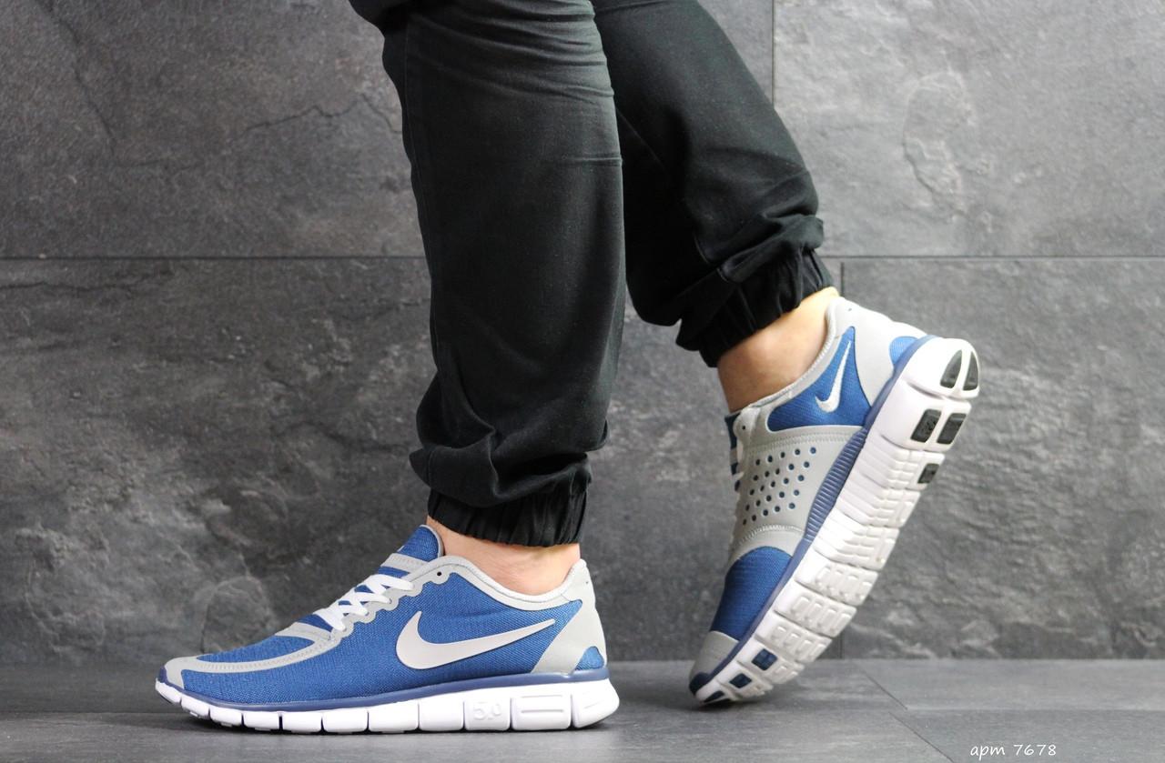 45836c4e Мужские кроссовки Nike Free Run 5.0, (реплика), артикул 7678 синие с белым