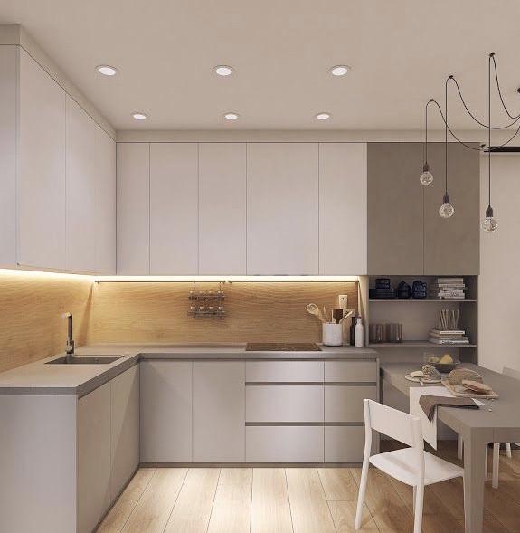 Кухня на заказ белая + светло серый. кухня с ручками профилем