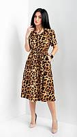 Стильное женское леопардовое платье размеры 42,44,46,48