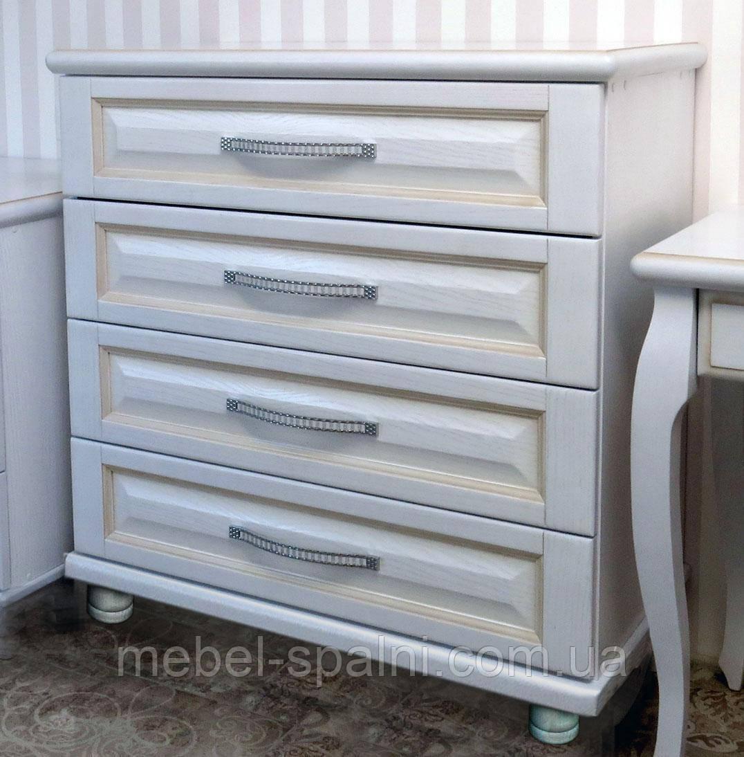 Комод дерев'яний з фільонками 2 з ящиками в спальню білий від виробника