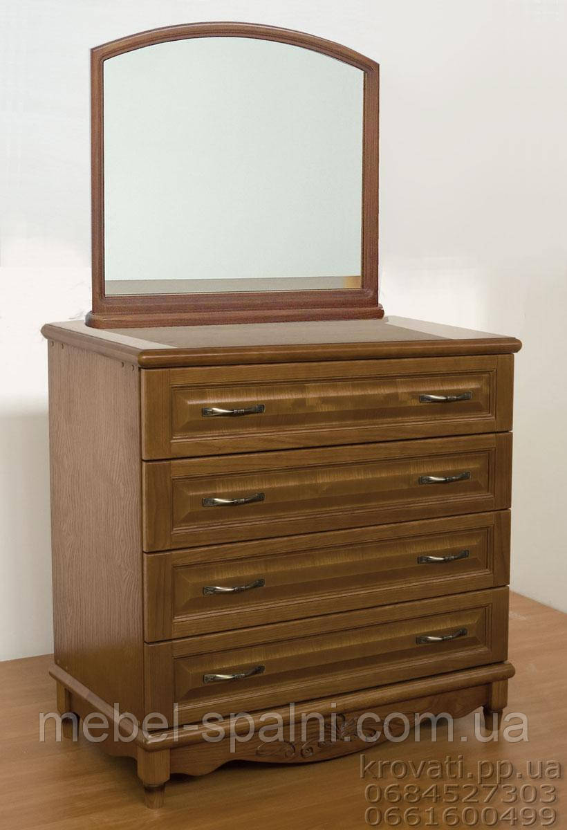 """Комод деревянный с зеркалом """"Барон 2"""" с ящиками в спальню белый от производителя"""