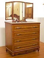 """Комод деревянный с зеркалом """"Барон 3"""" с ящиками в спальню белый от производителя"""
