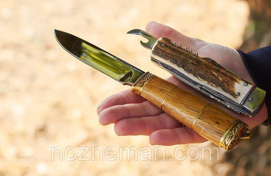 Ніж мисливський Скіннер 2 ручної роботи, з шкіряним чохлом в комплекті, солідний подарунок чоловікові