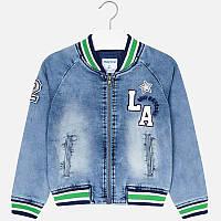 Куртка джинсовая бомбер с цветными манжетами