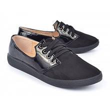 Туфли слипоны женские черные лаковые на шнуровке «Folli», Черный, 39