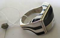 """Контрастное серебряное кольцо с перламутром """"Черное и белое"""", размер 17,5 от студии LadyStyle.Biz, фото 1"""