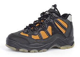 Термо ботинки на мальчика кожаные черные с желтым ТМ Jela Германия, Желтый, 33