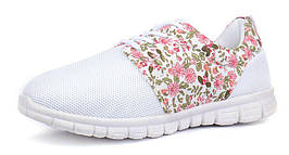 Кроссовки женские белые сетчатые на шнуровке Flower run, Белый, 40