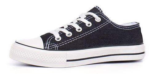 f488ac887051 Кеды слипоны джинсовые Young черные на шнуровке, Черный, 41