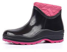 Резиновые ботильоны женские на флисе Vuitton черные марсала, Черный, 37