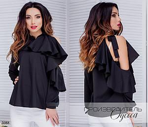 Блуза рюш плече открытое супер софт 42-44,44-46