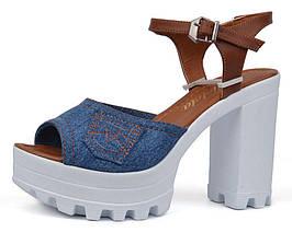 Босоножки женские джинсовые на каблуке Ersax темно-синие с коричневым, Синий, 40