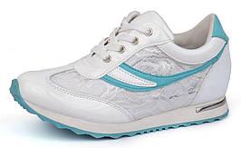 Кроссовки женские белые с мятным на платформе ажурные Emerald, Мятный, 41