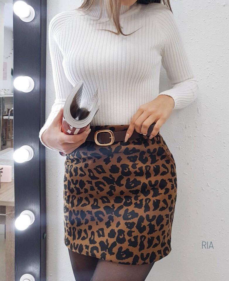 Женская юбка с леопардовым принтом