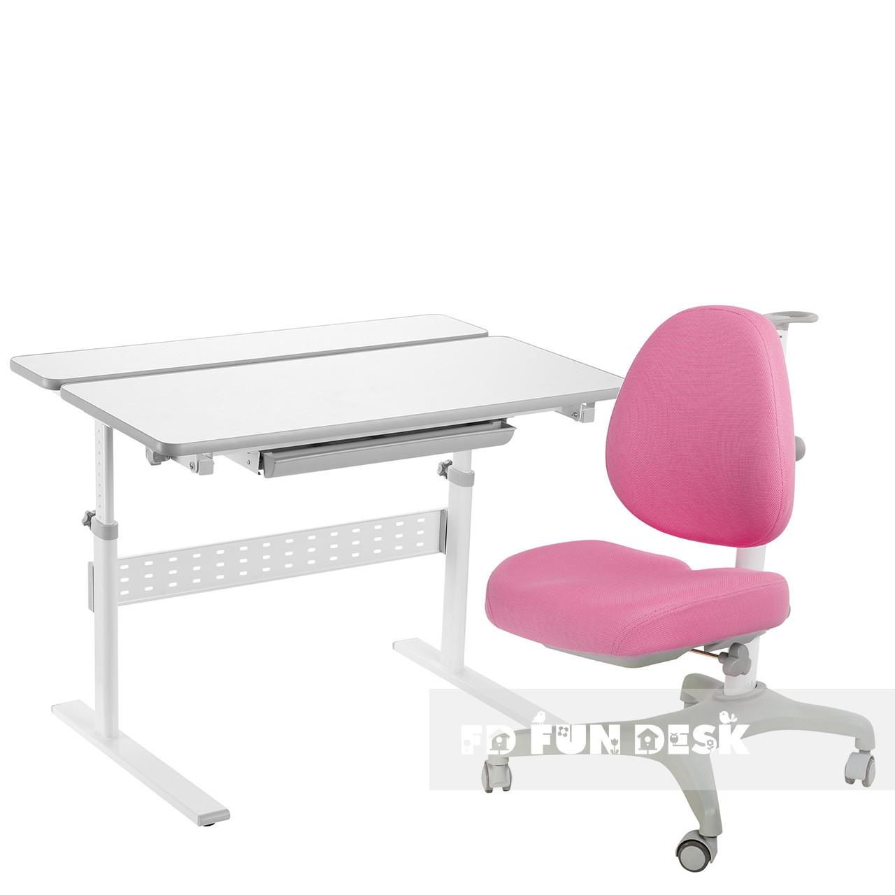 Комплект парта Colore Grey + подростковое кресло для дома Bello I Pink FunDesk
