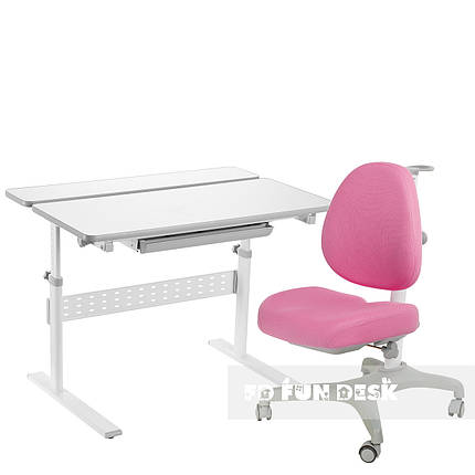 Комплект парта Colore Grey + подростковое кресло для дома Bello I Pink FunDesk , фото 2
